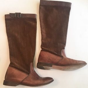 Frye Paige Boots Tall Brown Leather Perforated